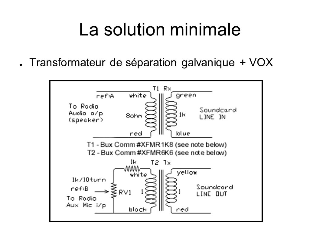 La solution minimale Transformateur de séparation galvanique + VOX