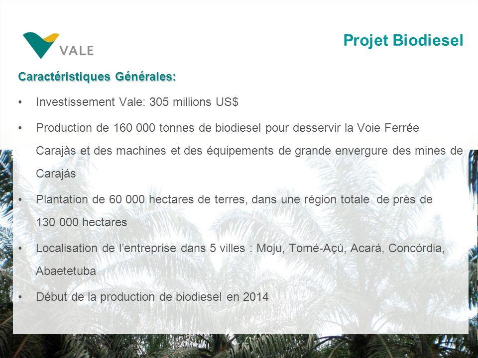 Projet Biodiesel Caractéristiques Générales: