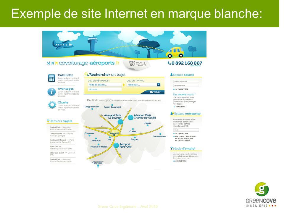 Exemple de site Internet en marque blanche: