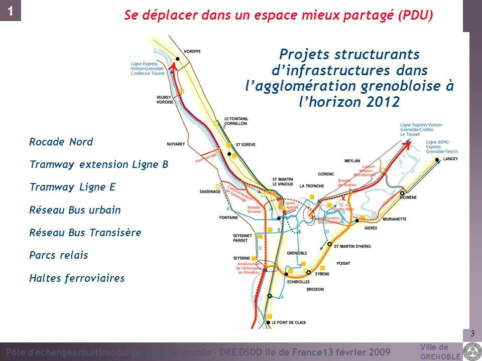 1Se déplacer dans un espace mieux partagé (PDU) Projets structurants d'infrastructures dans l'agglomération grenobloise à l'horizon 2012.
