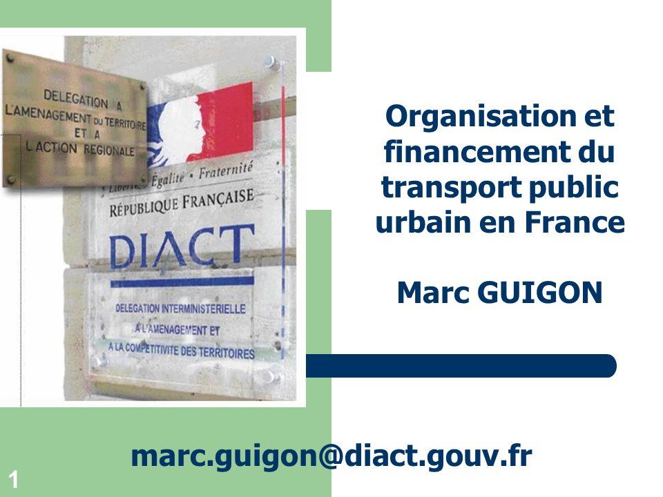 Organisation et financement du transport public urbain en France