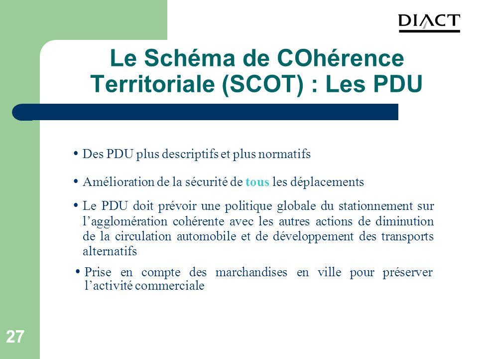 Le Schéma de COhérence Territoriale (SCOT) : Les PDU