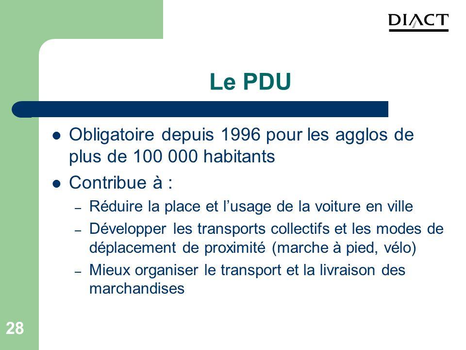 Le PDU Obligatoire depuis 1996 pour les agglos de plus de 100 000 habitants. Contribue à : Réduire la place et l'usage de la voiture en ville.