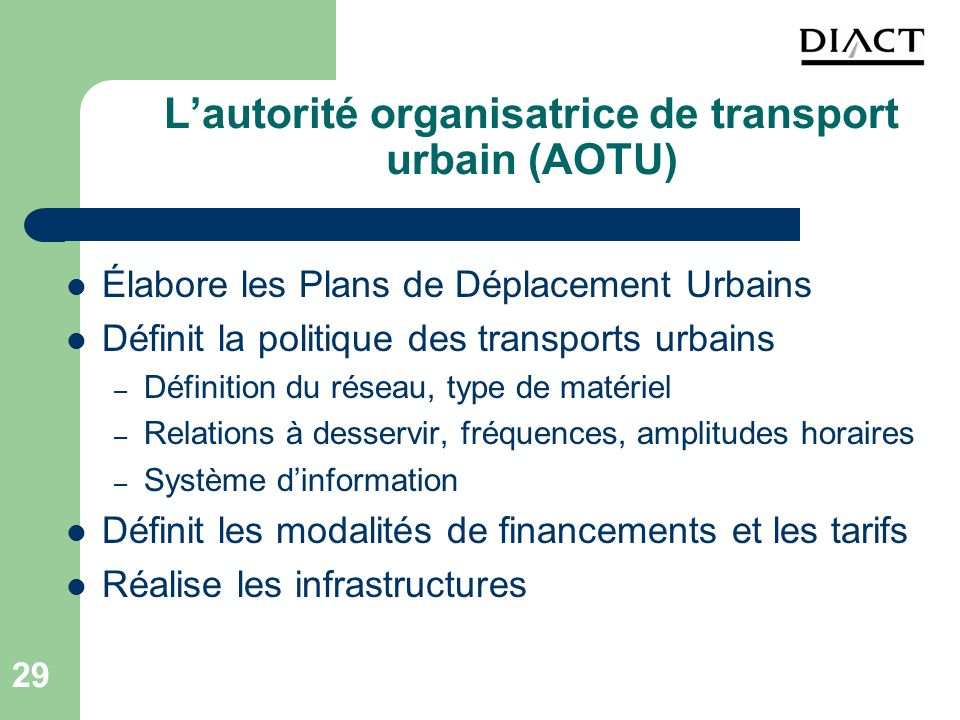 L'autorité organisatrice de transport urbain (AOTU)