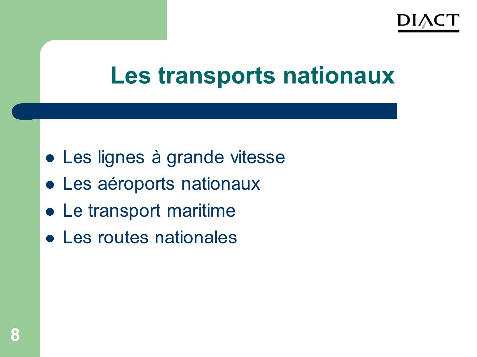 Les transports nationaux