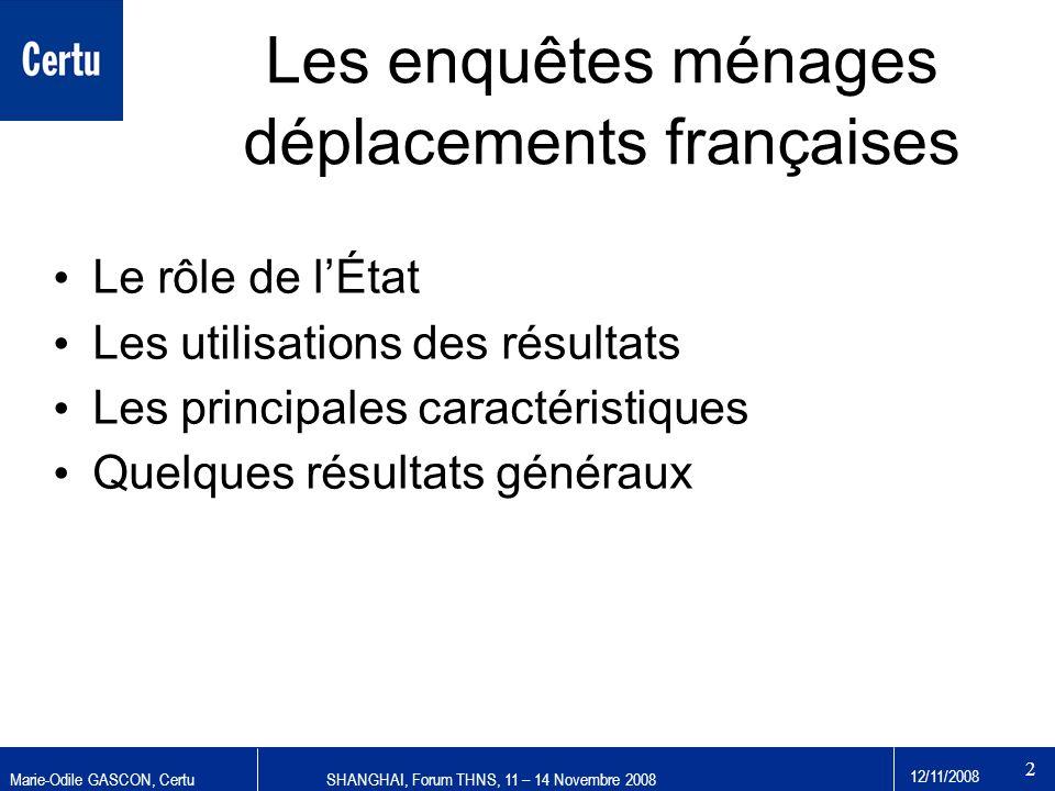 Les enquêtes ménages déplacements françaises