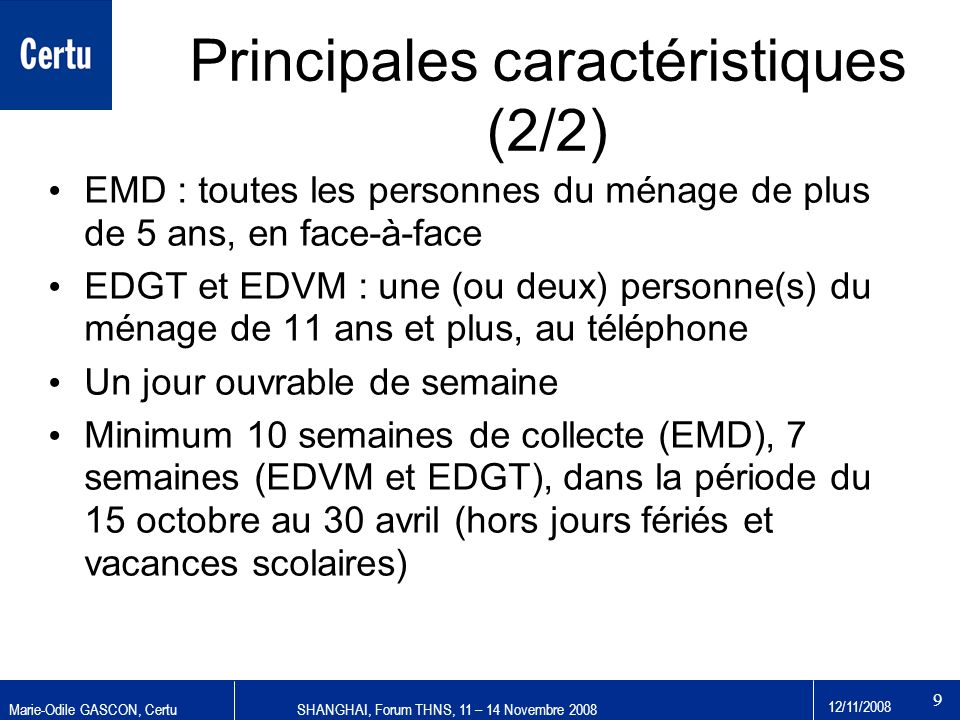 Principales caractéristiques (2/2)