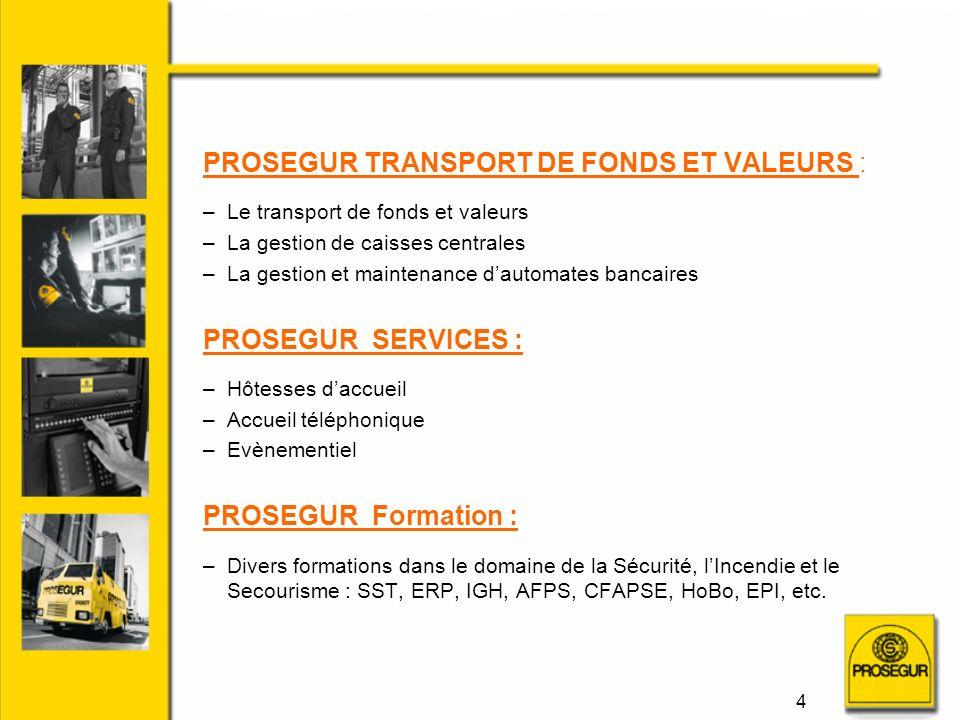 PROSEGUR TRANSPORT DE FONDS ET VALEURS :