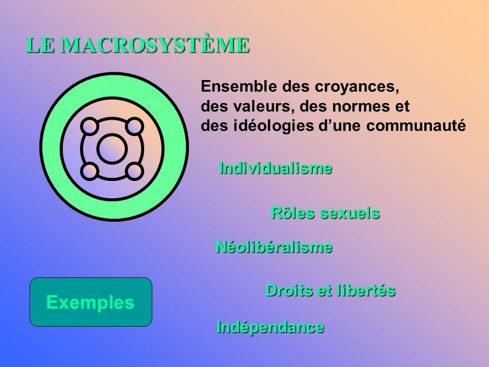 LE MACROSYSTÈME Exemples Ensemble des croyances,