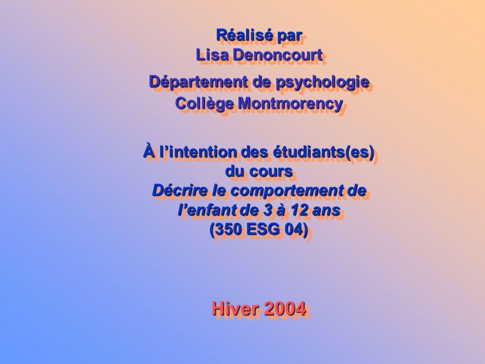 Hiver 2004 Réalisé par Lisa Denoncourt Département de psychologie