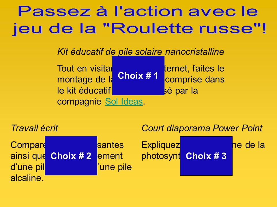 Passez à l action avec le jeu de la Roulette russe !