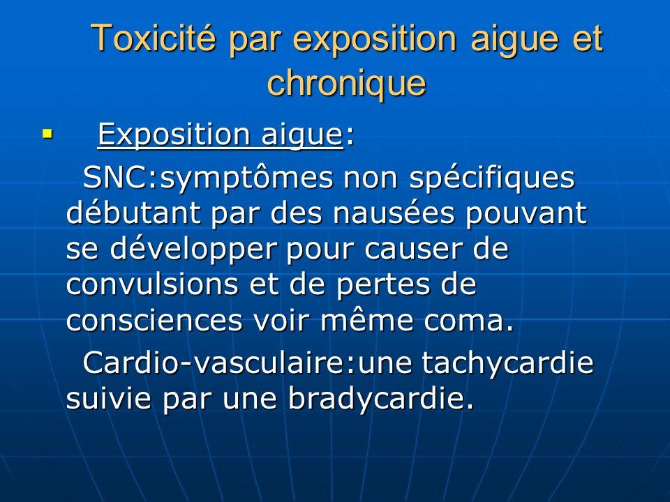 Toxicité par exposition aigue et chronique