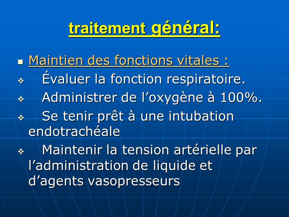 traitement général: Maintien des fonctions vitales :