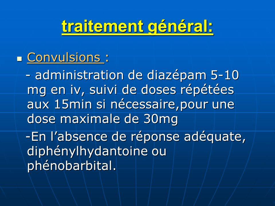 traitement général: Convulsions :