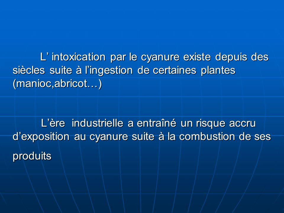 L' intoxication par le cyanure existe depuis des siècles suite à l'ingestion de certaines plantes (manioc,abricot…) L'ère industrielle a entraîné un risque accru d'exposition au cyanure suite à la combustion de ses produits