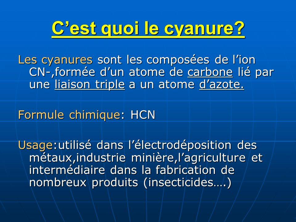 C'est quoi le cyanure Les cyanures sont les composées de l'ion CN-,formée d'un atome de carbone lié par une liaison triple a un atome d'azote.