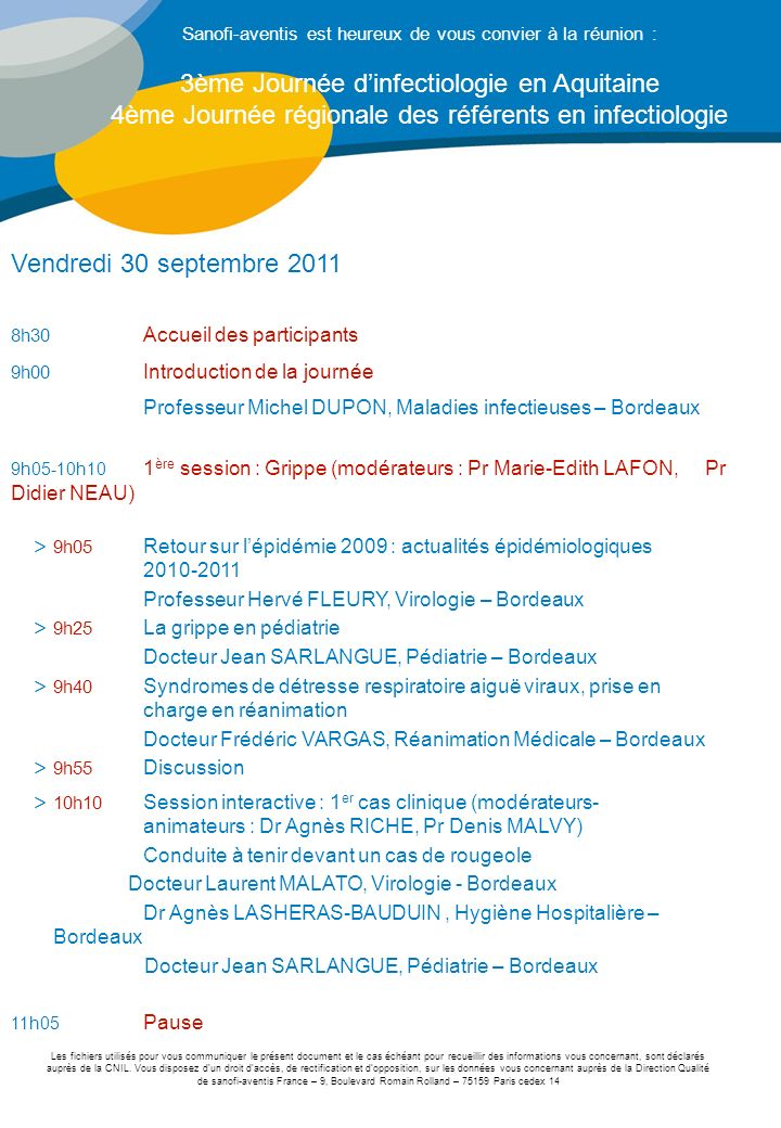 3ème Journée d'infectiologie en Aquitaine