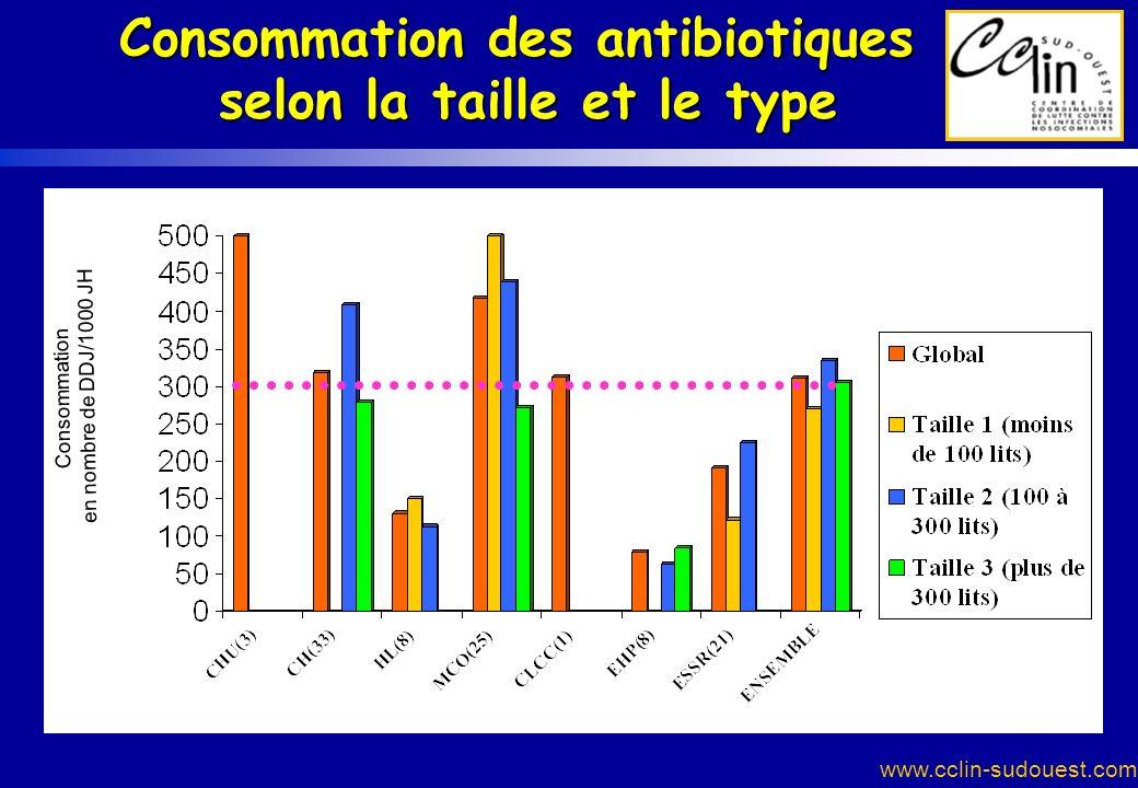 Consommation des antibiotiques selon la taille et le type