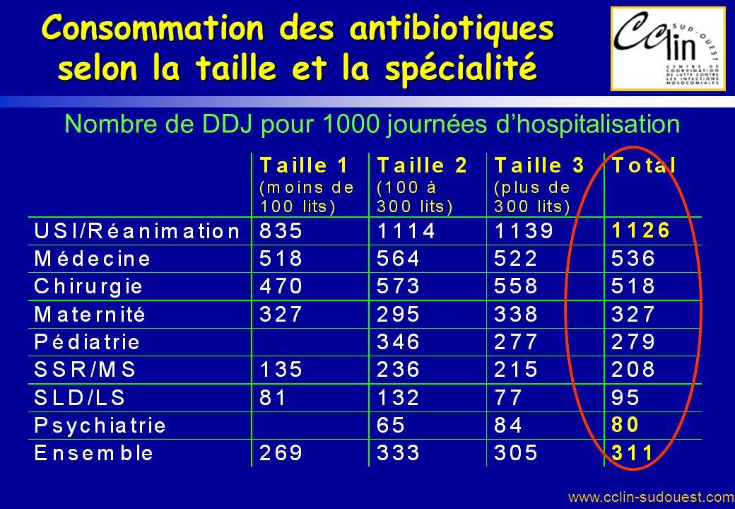 Consommation des antibiotiques selon la taille et la spécialité