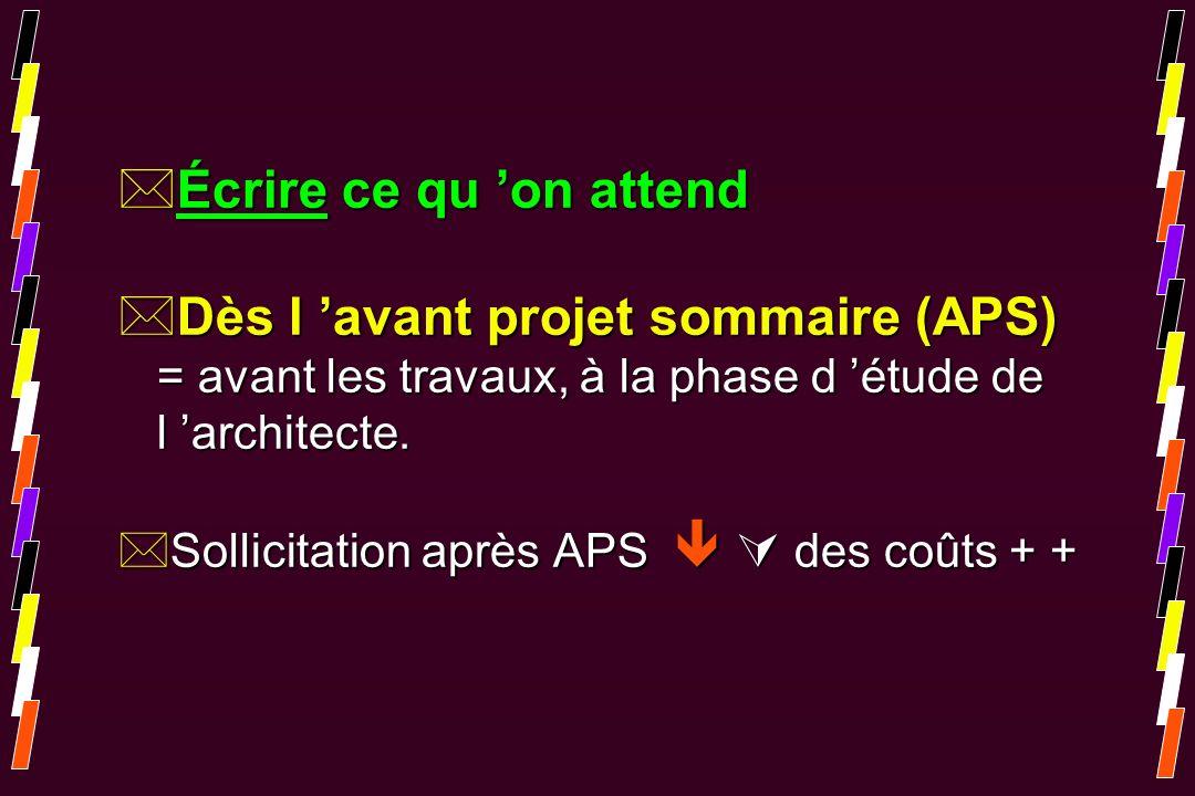 Écrire ce qu 'on attend Dès l 'avant projet sommaire (APS) = avant les travaux, à la phase d 'étude de l 'architecte.