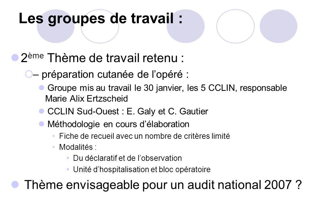 Les groupes de travail :