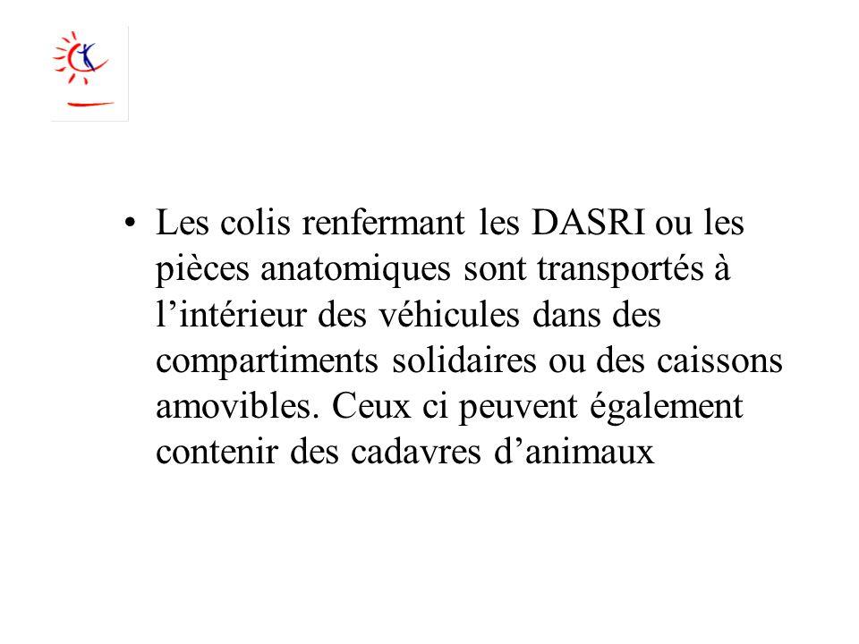 Les colis renfermant les DASRI ou les pièces anatomiques sont transportés à l'intérieur des véhicules dans des compartiments solidaires ou des caissons amovibles.