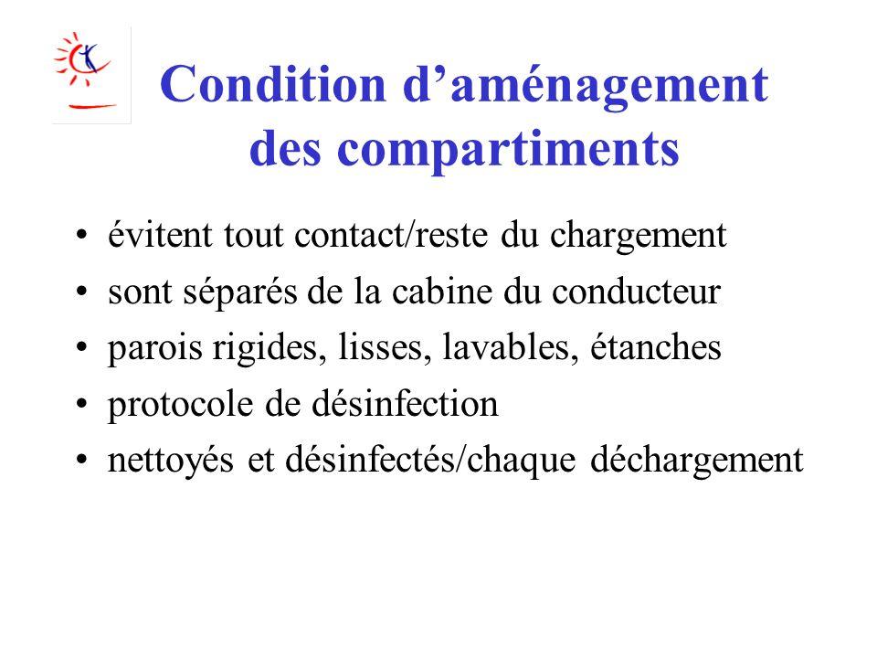 Condition d'aménagement des compartiments