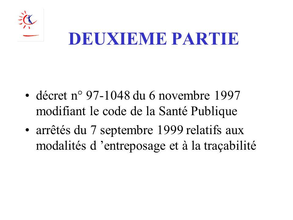 DEUXIEME PARTIE décret n° 97-1048 du 6 novembre 1997 modifiant le code de la Santé Publique.