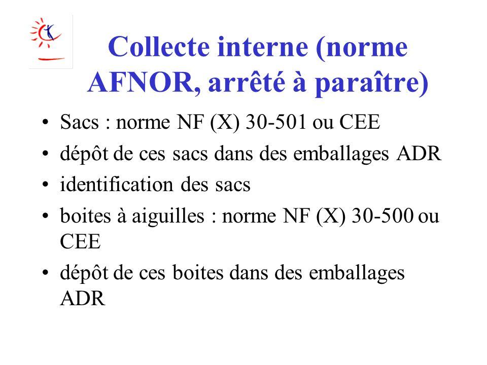 Collecte interne (norme AFNOR, arrêté à paraître)