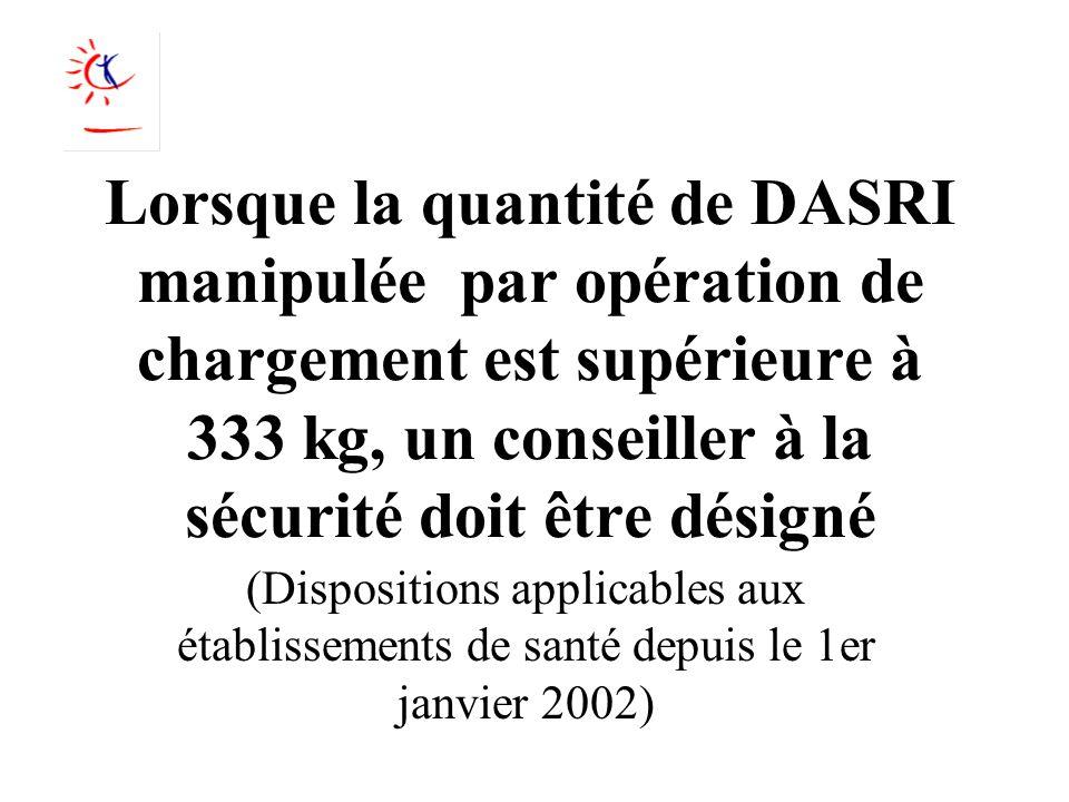 Lorsque la quantité de DASRI manipulée par opération de chargement est supérieure à 333 kg, un conseiller à la sécurité doit être désigné