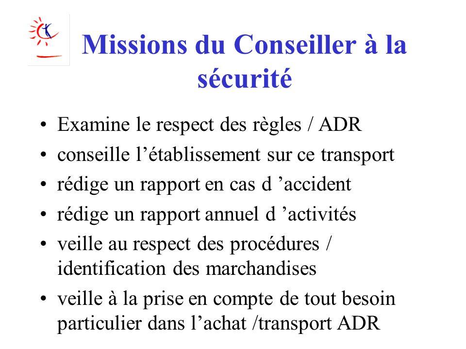 Missions du Conseiller à la sécurité
