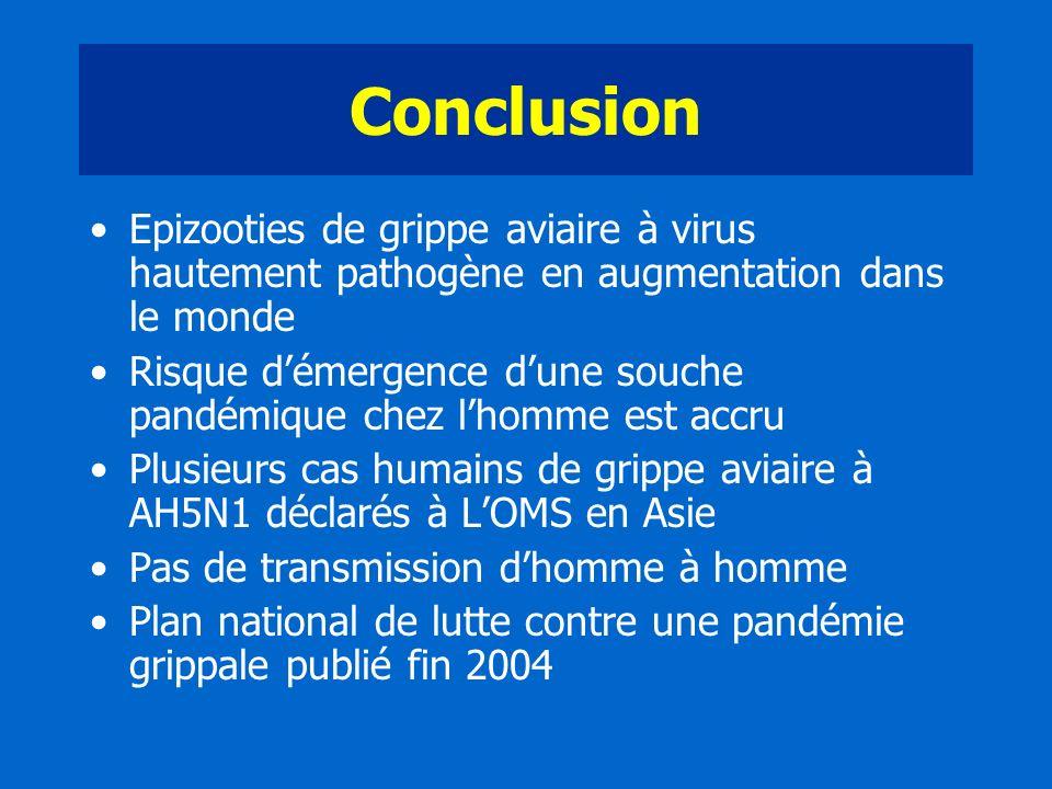 Conclusion Epizooties de grippe aviaire à virus hautement pathogène en augmentation dans le monde.