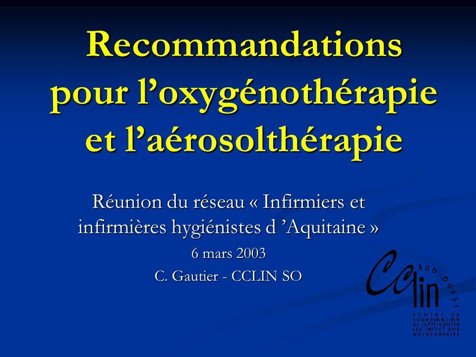 Recommandations pour l'oxygénothérapie et l'aérosolthérapie