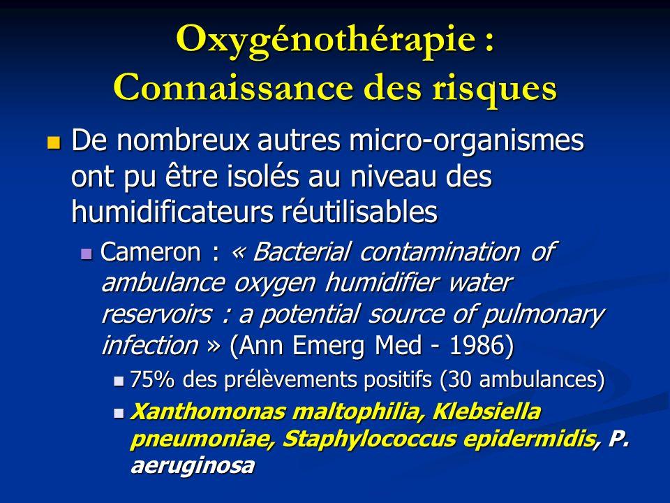 Oxygénothérapie : Connaissance des risques