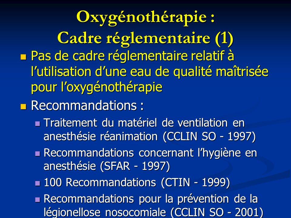 Oxygénothérapie : Cadre réglementaire (1)