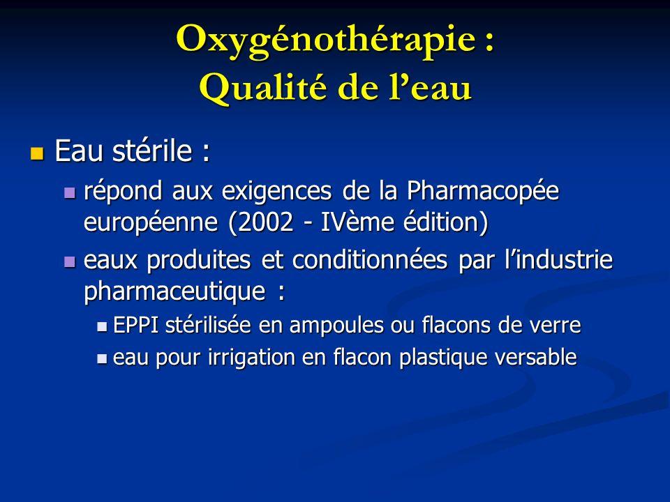 Oxygénothérapie : Qualité de l'eau