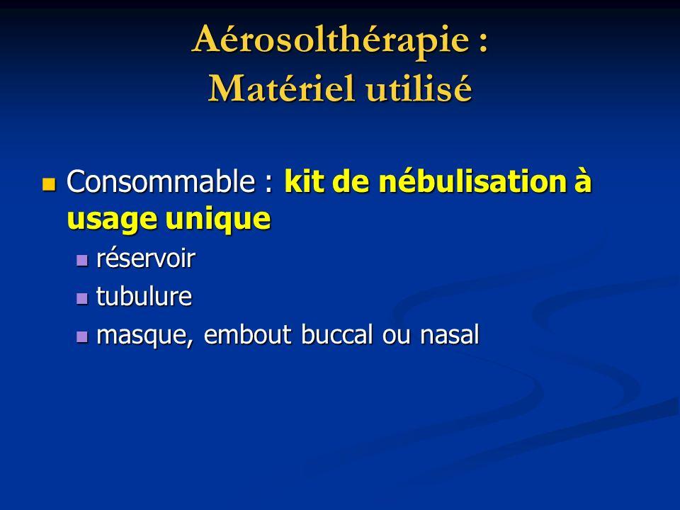 Aérosolthérapie : Matériel utilisé