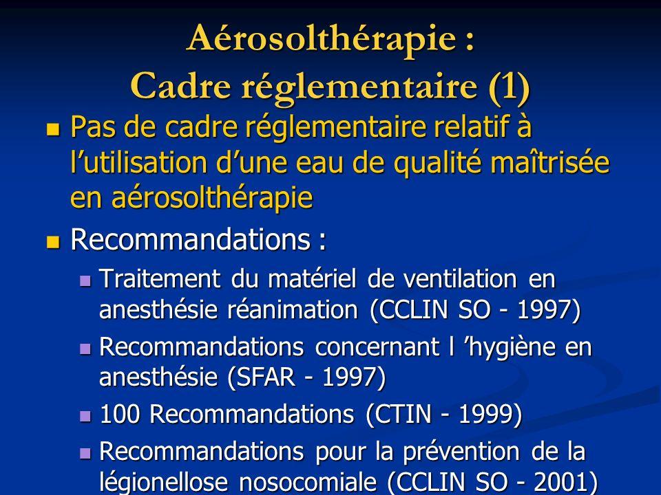 Aérosolthérapie : Cadre réglementaire (1)