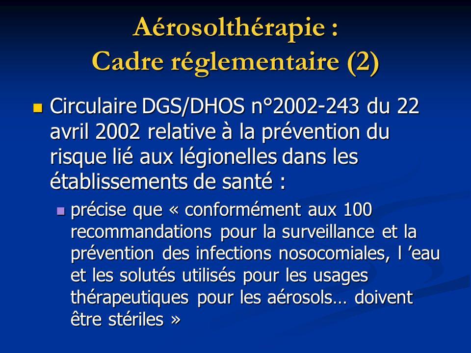 Aérosolthérapie : Cadre réglementaire (2)