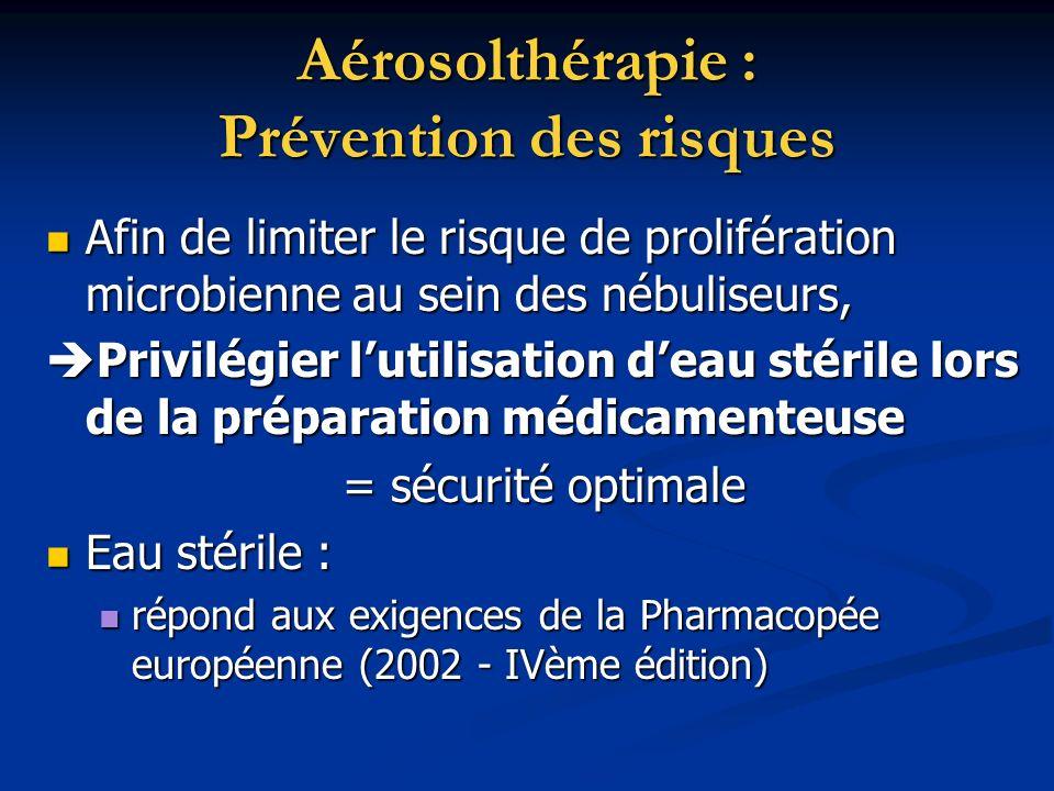 Aérosolthérapie : Prévention des risques