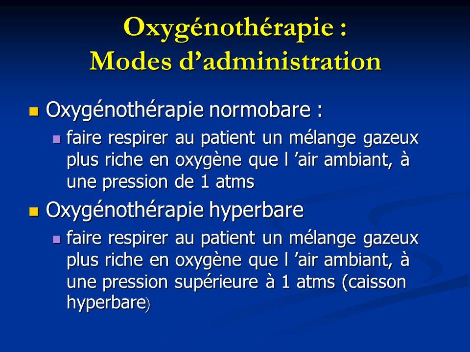 Oxygénothérapie : Modes d'administration