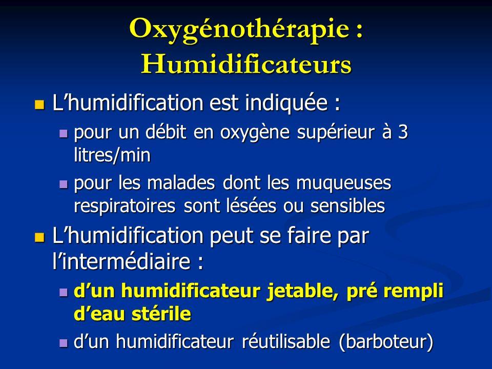 Oxygénothérapie : Humidificateurs