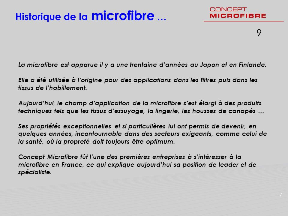 Historique de la microfibre …