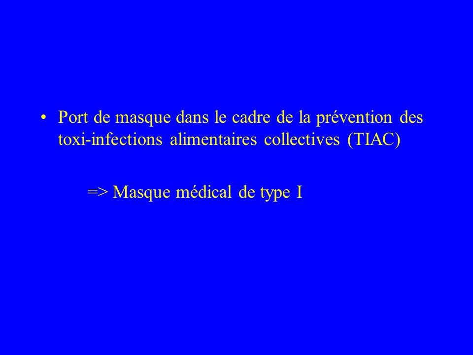Port de masque dans le cadre de la prévention des toxi-infections alimentaires collectives (TIAC)