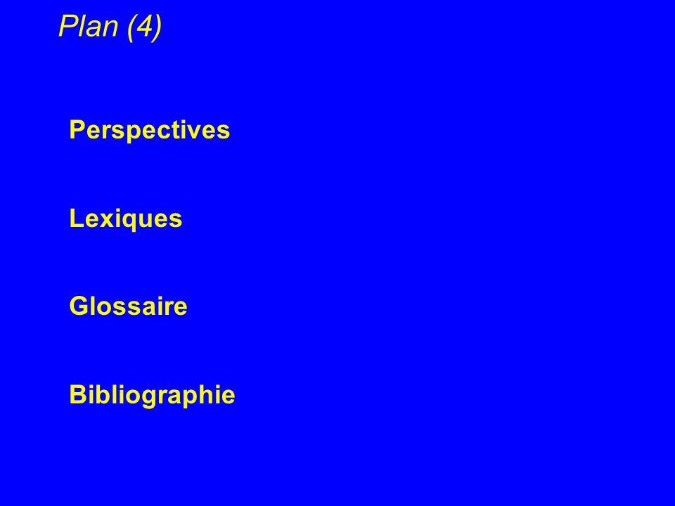 Plan (4) Perspectives Lexiques Glossaire Bibliographie