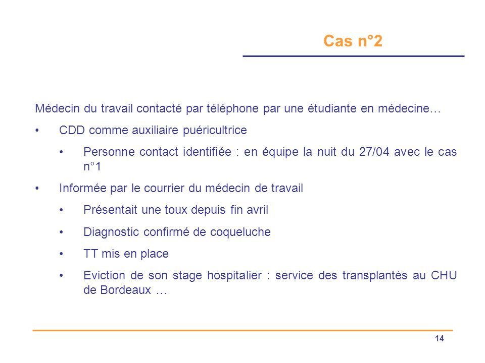 Cas n°2 Médecin du travail contacté par téléphone par une étudiante en médecine… CDD comme auxiliaire puéricultrice.