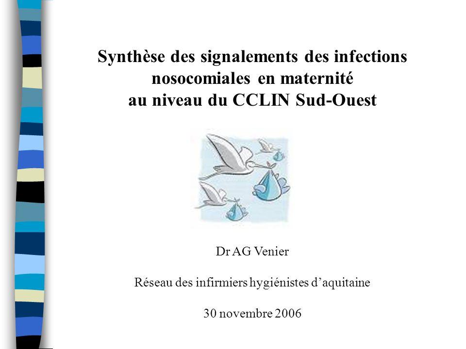 Synthèse des signalements des infections nosocomiales en maternité
