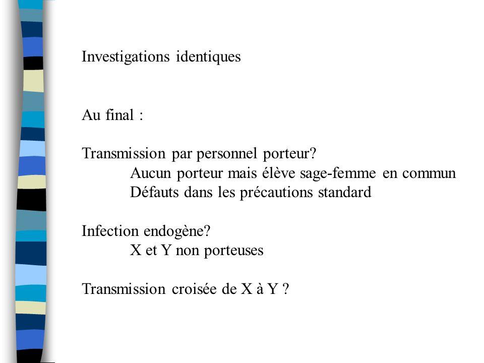Investigations identiques