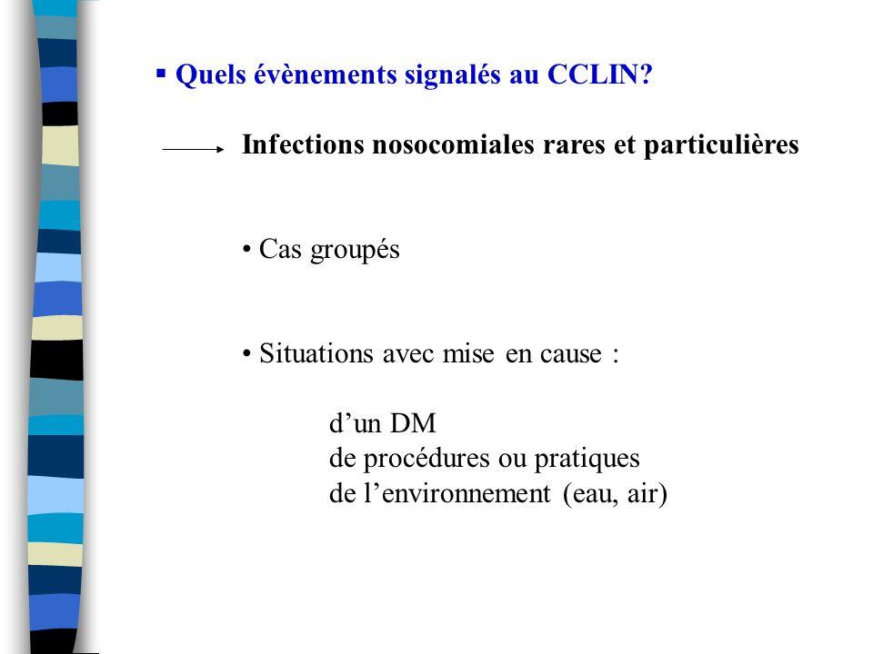 Quels évènements signalés au CCLIN