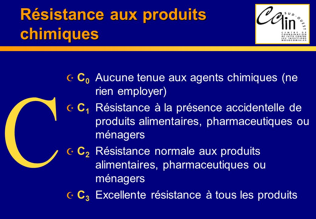 Résistance aux produits chimiques